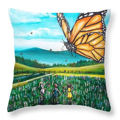 Butterfly Throw Pillow featuring the painting Just Another Monarch Monday by Shana Rowe Jackson