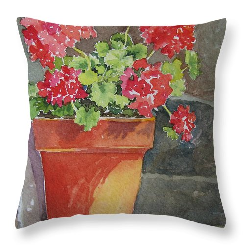 Claypots Throw Pillow featuring the painting Just Basking In The Sun by Mary Ellen Mueller Legault