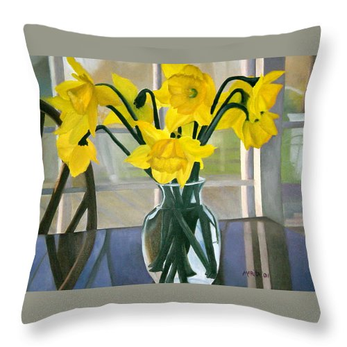 Springtime Throw Pillow featuring the painting Just Because by Marita McVeigh