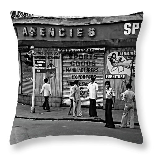 India Throw Pillow featuring the photograph Just Buddies Bw by Steve Harrington