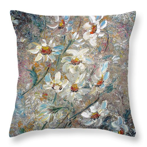 Daisies Painting Abstract Flower Painting Botanical Painting Bloom Greeting Card Painting Throw Pillow featuring the painting Just Dasies by Karin Dawn Kelshall- Best