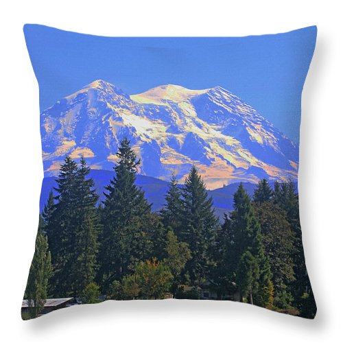 Just Over The Hill Throw Pillow featuring the photograph Just Over The Hill Mt. Rainier by Tom Janca