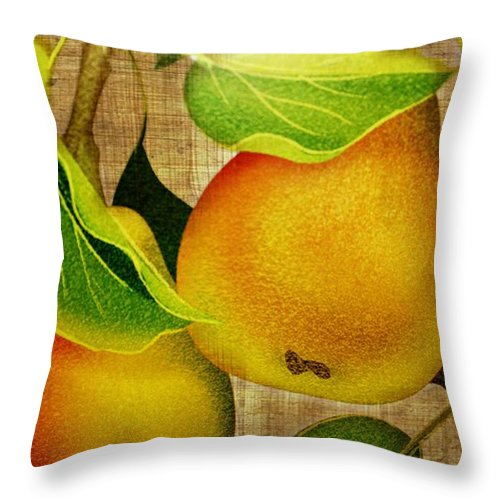 Pears Throw Pillow featuring the photograph Just Pears by Judy Palkimas