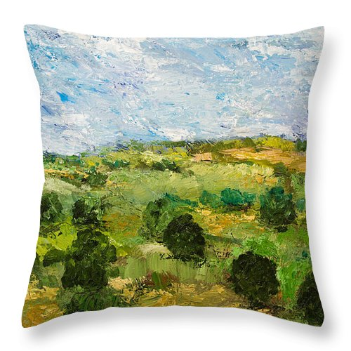 Landscape Throw Pillow featuring the painting Just Roll Along by Allan P Friedlander