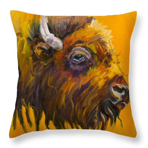 Bison Throw Pillow featuring the painting Just Sayin Bison by Diane Whitehead