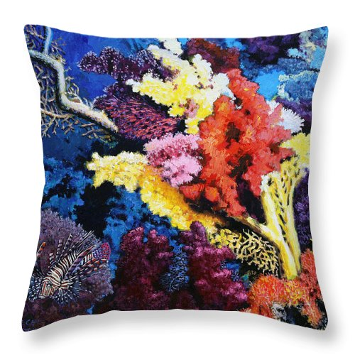 Lion Fish Throw Pillow featuring the painting Just Trying To Survive by John Lautermilch