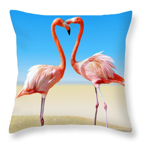 Flamingo Throw Pillow featuring the photograph Just We Two by Kristin Elmquist