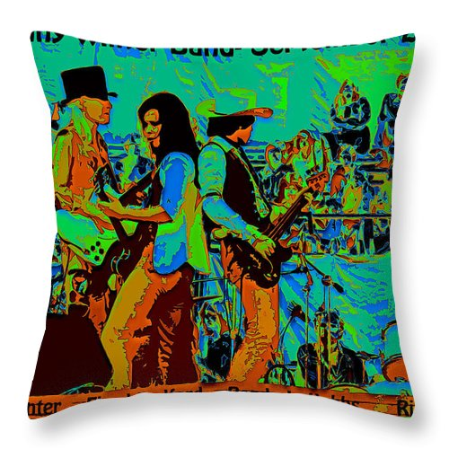 Johnny Winter Throw Pillow featuring the photograph Jwinter #16 Enhanced With Text And Cosmicolors 2 by Ben Upham