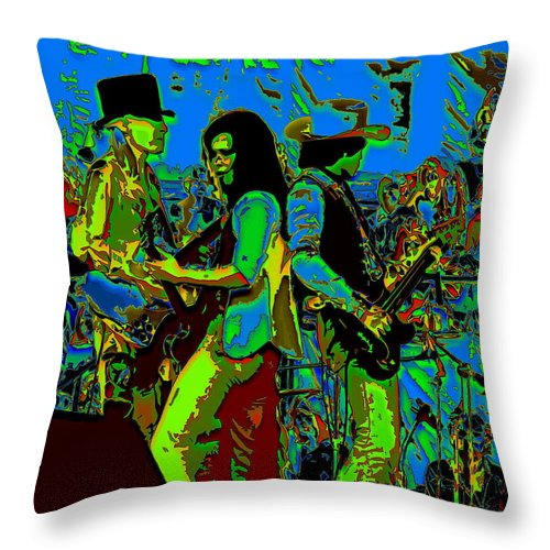 Johnny Winter Throw Pillow featuring the photograph Jwinter #16 In Cosmicolors by Ben Upham