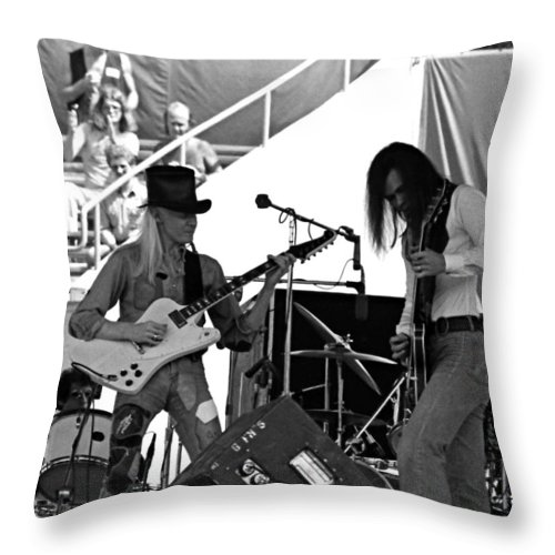 Johnny Winter Throw Pillow featuring the photograph Jwinter #6 Crop 2 by Ben Upham