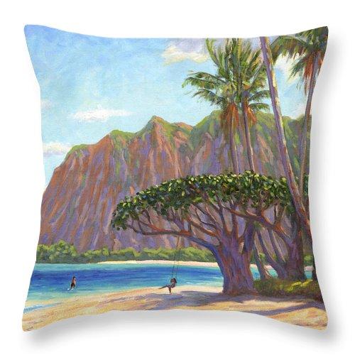 Kaaawa Throw Pillow featuring the painting Kaaawa Beach - Oahu by Steve Simon