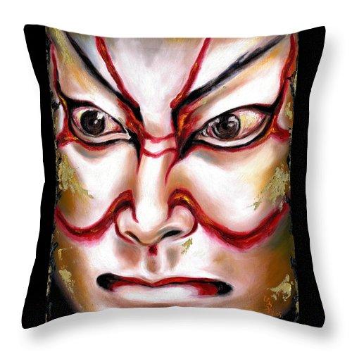 Kabuki Throw Pillow featuring the painting KABUKI one by Hiroko Sakai