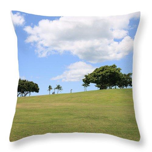 Brandon Tabiolo Throw Pillow featuring the photograph Kakaako Park by Brandon Tabiolo