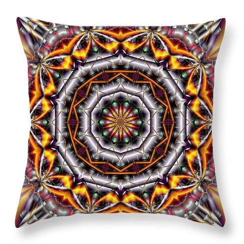 Kaleidoscope Throw Pillow featuring the digital art Kaleidoscope 41 by Ron Bissett