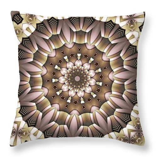 Kaleidoscope Throw Pillow featuring the digital art Kaleidoscope 65 by Ron Bissett
