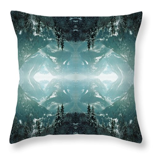 Scenics Throw Pillow featuring the photograph Kaleidoscope Snowy Trees In Mountains by Silvia Otte