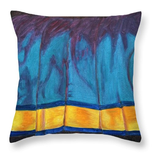 Kanchee Throw Pillow featuring the painting Kanchi Saree by Usha Shantharam