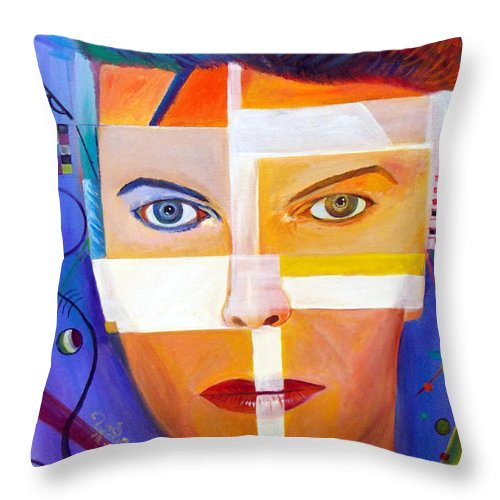 David Bowie Autism Throw Pillow featuring the painting Kandinsky Inspired 1 by To-Tam Gerwe