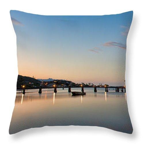 Hawaii Throw Pillow featuring the photograph Kaneohe Beach Park Dusk by Dan McManus
