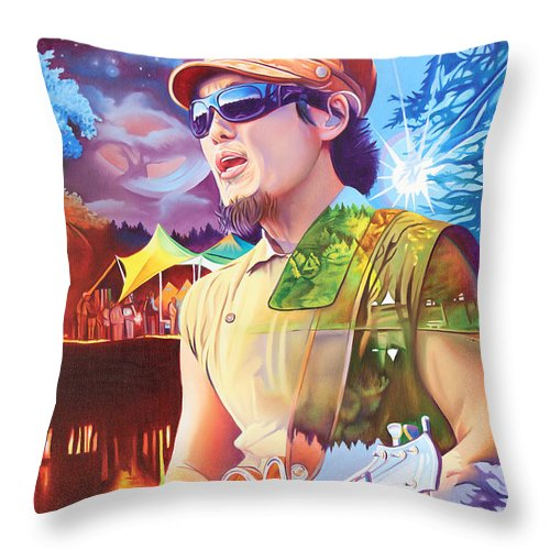 Kang Throw Pillow featuring the painting Kang At Hornings Hideout by Joshua Morton
