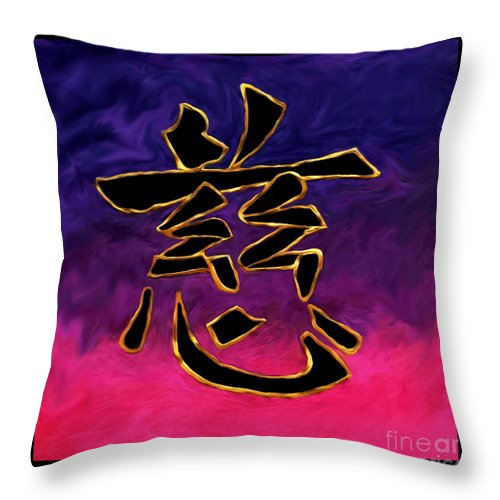 Kanji Throw Pillow featuring the painting Kanji Compassion by Victoria Page