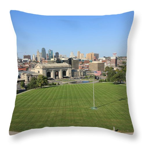 America Throw Pillow featuring the photograph Kansas City Skyline And Park by Frank Romeo