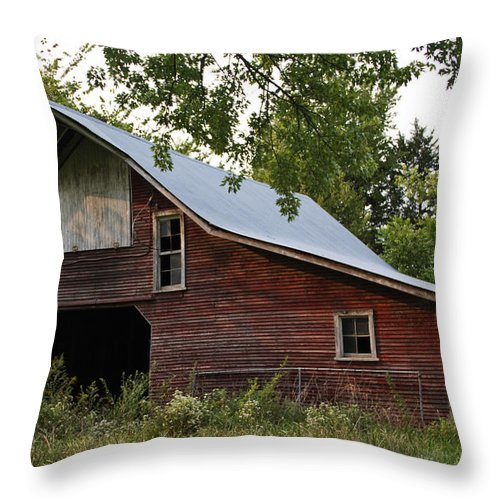 Landscape Photographs Throw Pillow featuring the photograph Kansas Hay Barn by Guy Shultz