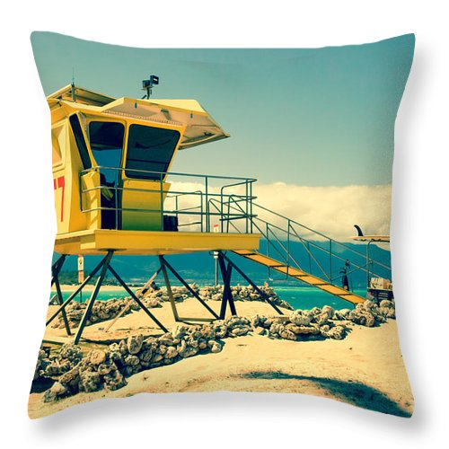 Awakening In Paradise Throw Pillow featuring the photograph Kapukaulua Beach Lifeguard Station Paia Maui Hawaii by Sharon Mau