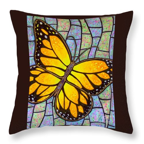 Butterflies Throw Pillow featuring the painting Karens Butterfly by Jim Harris