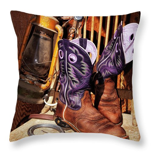 Cowgirl Throw Pillow featuring the photograph Karen's Cowgirl Gear by Sandra Selle Rodriguez