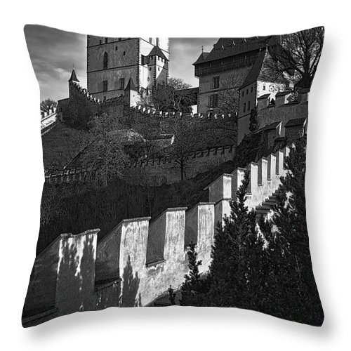Joan Carroll Throw Pillow featuring the photograph Karlstejn Castle by Joan Carroll