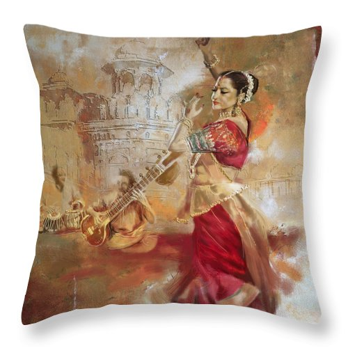 Zakir Throw Pillow featuring the painting Kathak Dancer 8 by Corporate Art Task Force