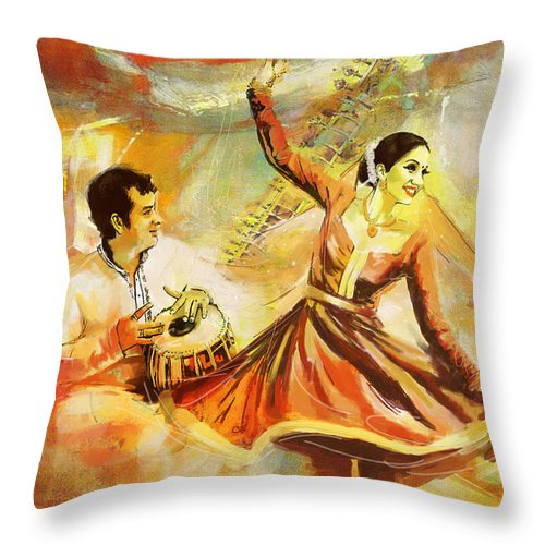 Dancer Throw Pillow featuring the painting Kathak Dancer by Catf