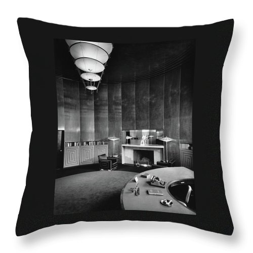 Interior Throw Pillow featuring the photograph Katharine Brush's Study by F. S. Lincoln
