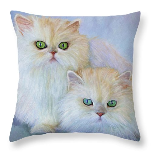 Cat Throw Pillow featuring the painting Katrina And Bjorn by David Wagner