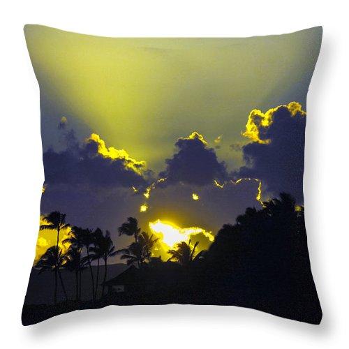 Sunset Throw Pillow featuring the photograph Kauai Sunset by Debbie Karnes
