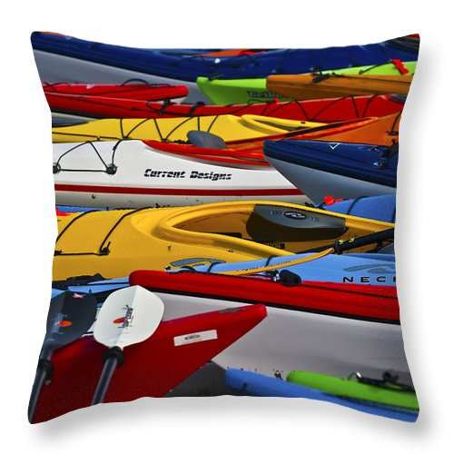 Kayaks Throw Pillow featuring the photograph Kayak Explosion by Glen Wilkerson