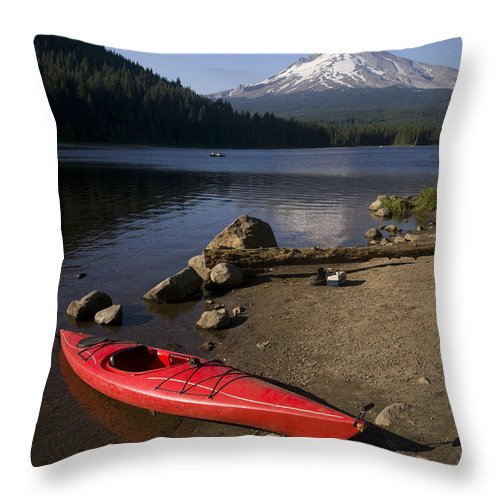 Mount Hood Throw Pillow featuring the photograph Kayak On Trillium Lake by Christopher Boswell