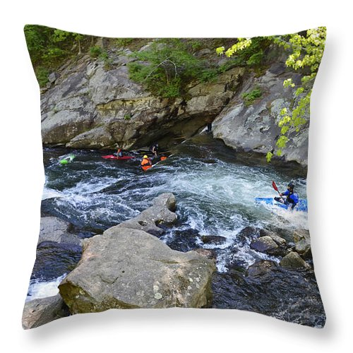 Baby Falls Throw Pillow featuring the photograph Kayaking Baby Falls by Paul Mashburn