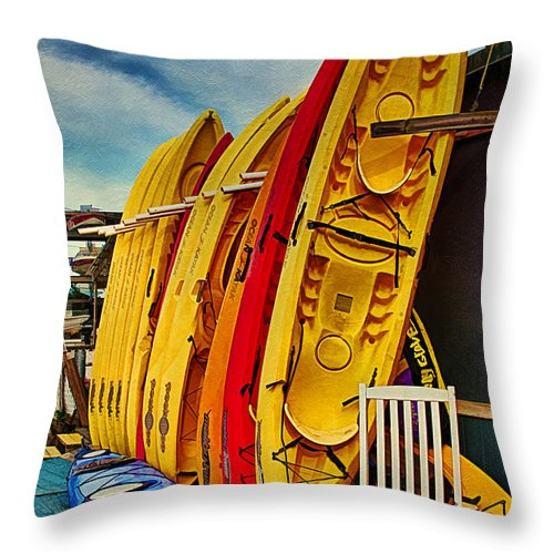 Kayaks For Rent Throw Pillow featuring the photograph Kayaks For Rent by Priscilla Burgers