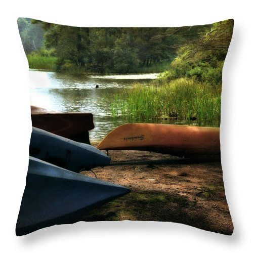 Kayak Throw Pillow featuring the photograph Kayaks On The Shore by Michelle Calkins