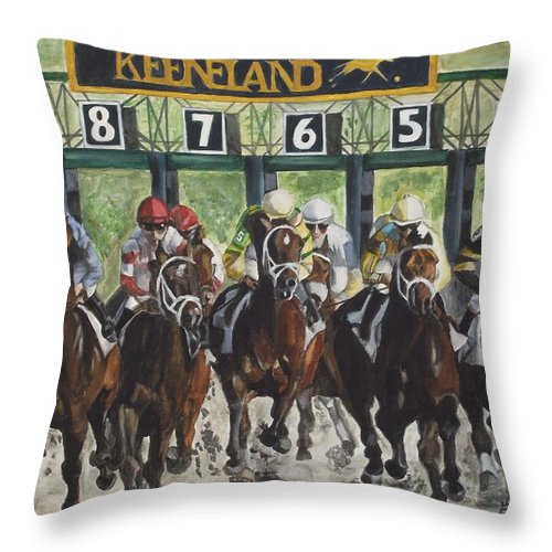 Acrylic Throw Pillow featuring the painting Keeneland by Kim Selig