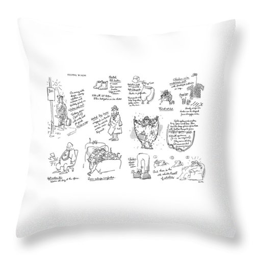 Keeping Warm (george Booth's Incomparable Attempts To Keep The Heat Up And Costs Down.) Technology Useless Fashion Seasons Winter Artkey 44834 Throw Pillow featuring the drawing Keeping Warm by George Booth