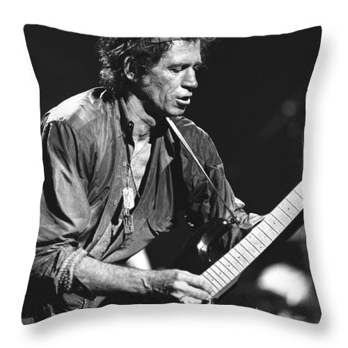 Guitarist Throw Pillow featuring the photograph Keith Richards 1 by Concert Photos