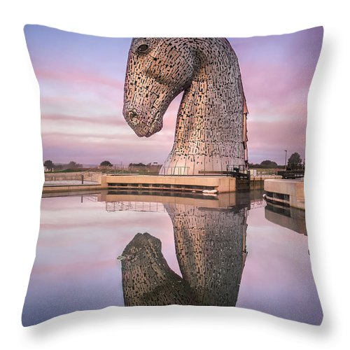 Scotland Throw Pillow featuring the photograph Kelpie At Dawn by Paul Bradburn