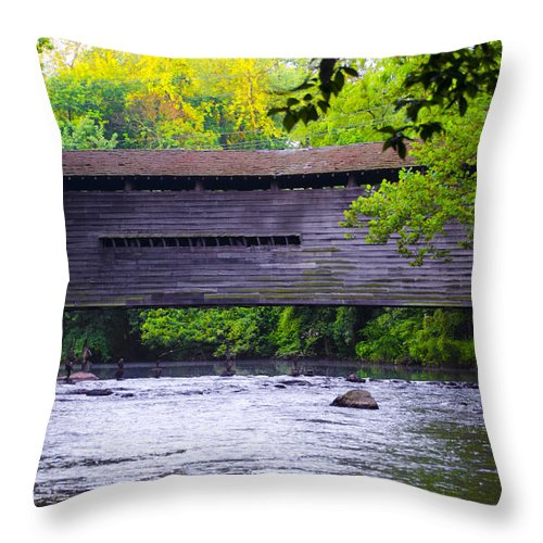 Kennedy Throw Pillow featuring the photograph Kennedy Covered Bridge - Kimberton Pa. by Bill Cannon