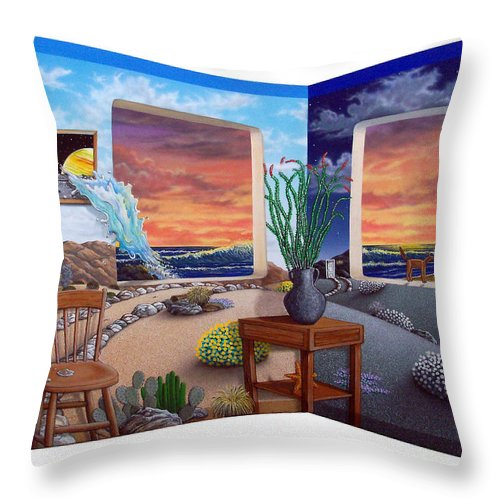 Desert Throw Pillow featuring the painting Ken's Place by Snake Jagger