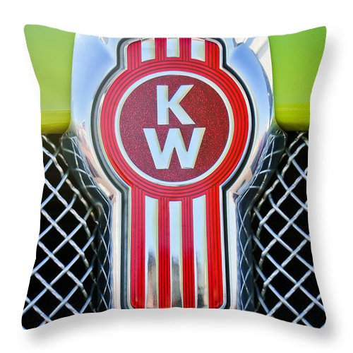 Kenworth Truck Emblem Throw Pillow featuring the photograph Kenworth Truck Emblem -1196c by Jill Reger