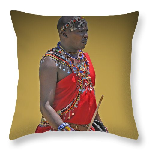 Color Throw Pillow featuring the photograph Kenya Warrior by Jost Houk
