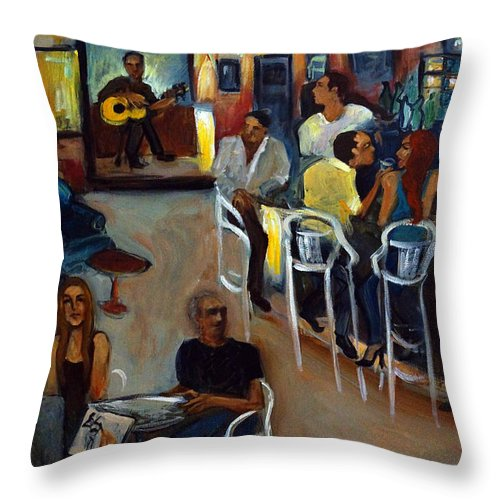 Art Bar Throw Pillow featuring the painting Kevro's Art Bar by Valerie Vescovi